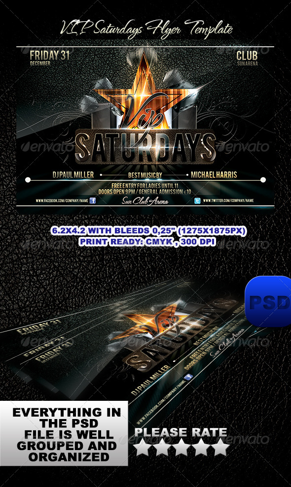 VIP Saturdays Flyer Template - Events Flyers