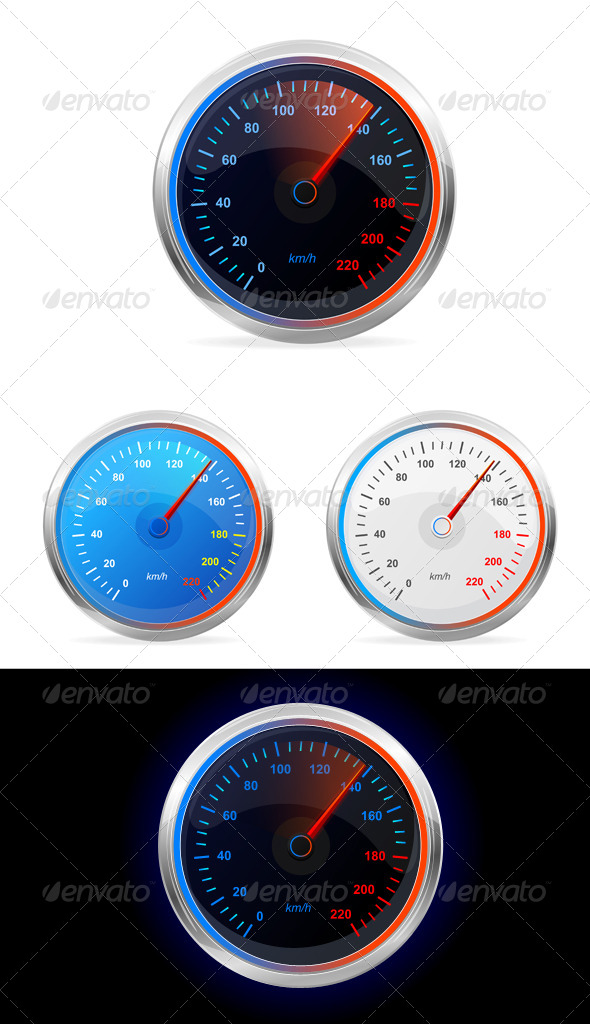 Speedometers, Vector Set - Sports/Activity Conceptual