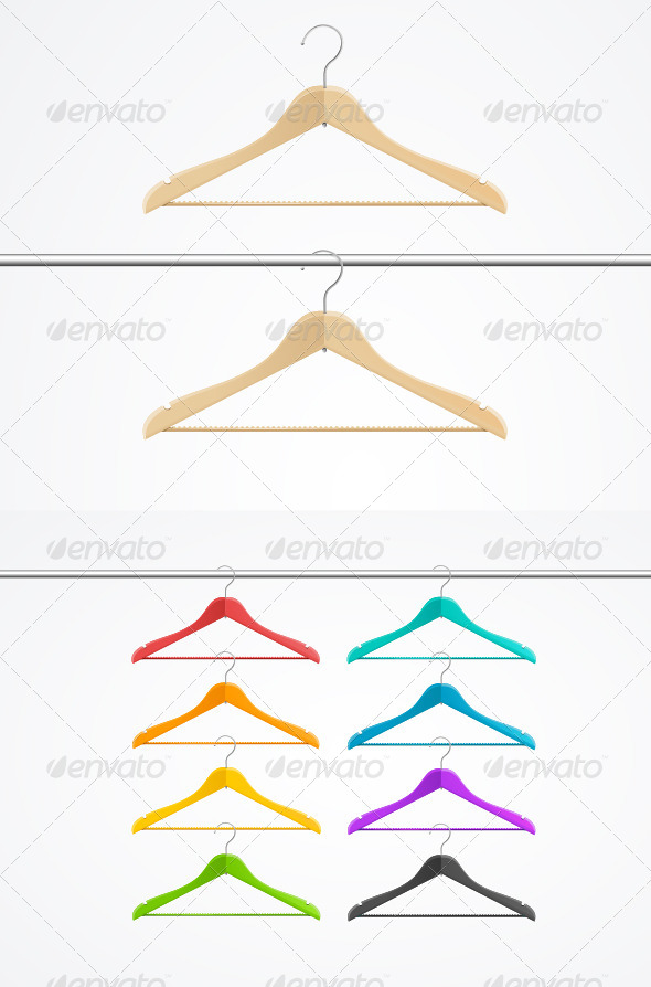 Wooden Rainbow Coat Hanger Set - Retail Commercial / Shopping