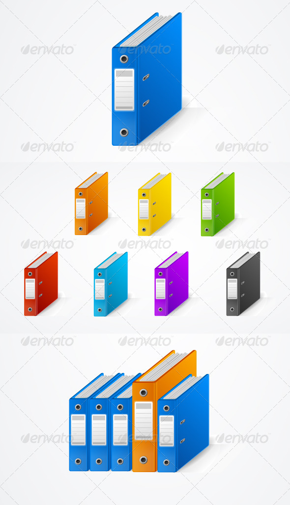 Set of Colorful Ring Binders - Concepts Business