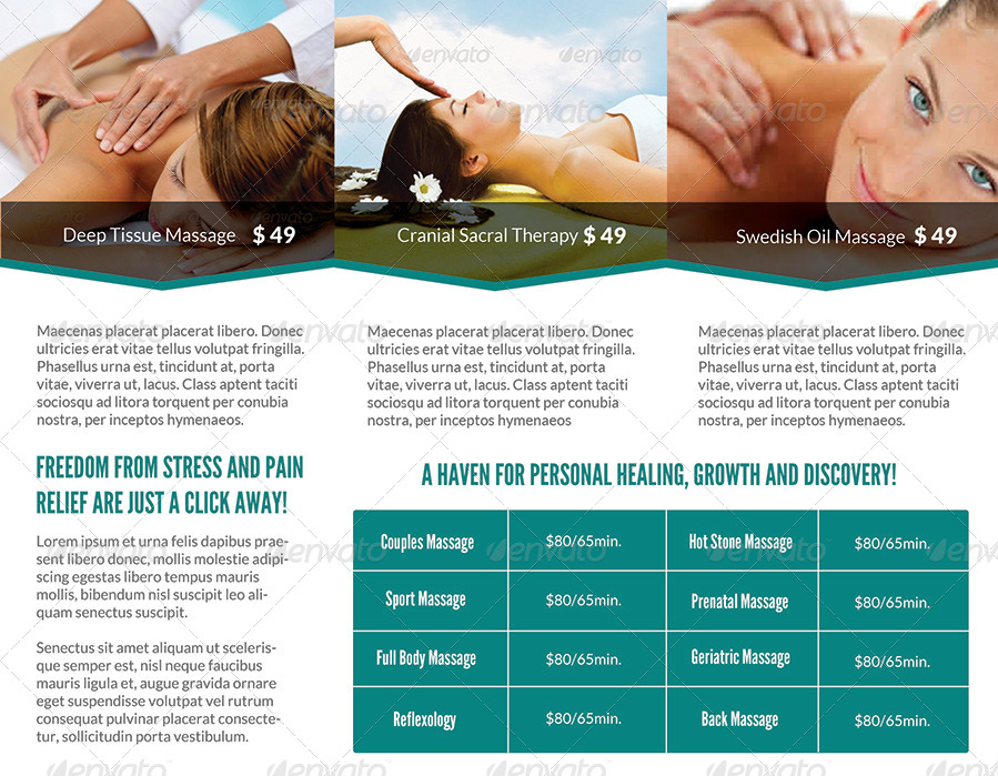 Spa  Massage Salon Trifold Brochure By Simplicity  Graphicriver
