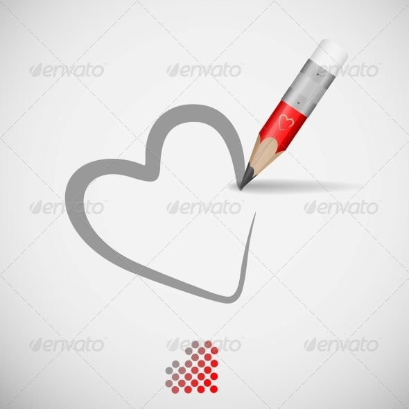 Pencil And Heart - Valentines Seasons/Holidays