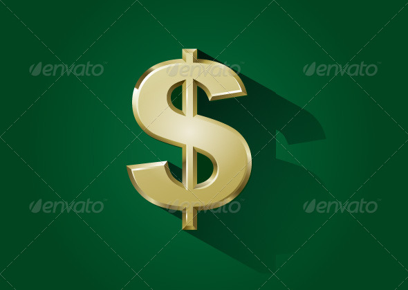 Gold Dollar Sign - Business Conceptual