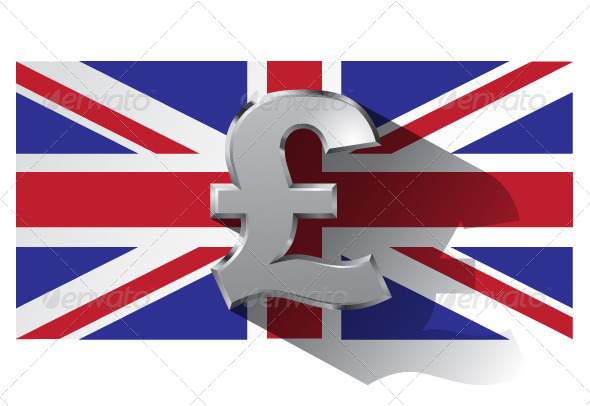 Pound Sign on Union Jack Flag - Business Conceptual
