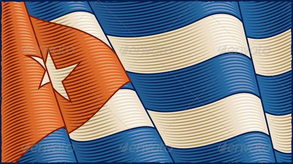 Vintage Cuban Flag Background - Backgrounds Decorative