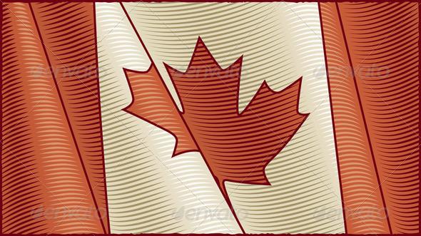 Vintage Canadian Flag Background - Backgrounds Decorative