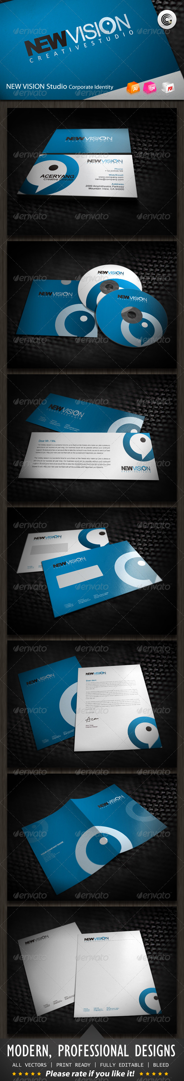 New Vision Studio Corporate Identity - Stationery Print Templates