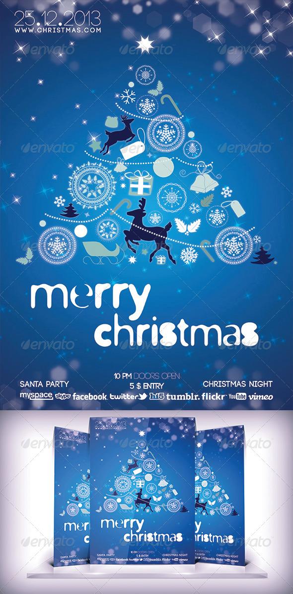 Christmas Party Blue Flyer - Events Flyers