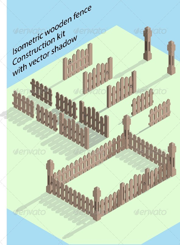 Isometric Wooden Fence - Buildings Objects