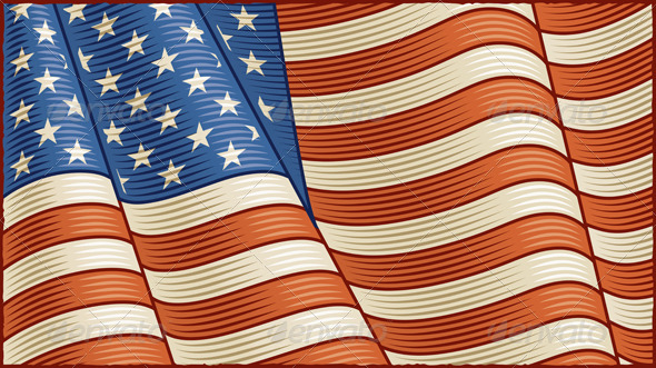 Vintage American Flag Background - Backgrounds Decorative