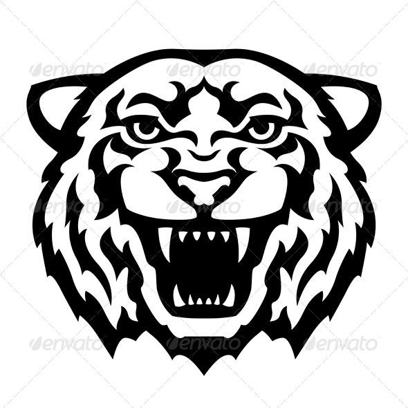 Tiger Head Tattoo - Decorative Symbols Decorative