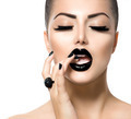 Vogue Style Fashion Girl with Trendy Caviar Black Manicure - PhotoDune Item for Sale