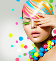 Beauty Girl Portrait with Colorful Makeup, Nails and Accessories - PhotoDune Item for Sale