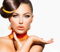 Fashion Model Girl Portrait with Yellow and Orange Makeup - PhotoDune Item for Sale