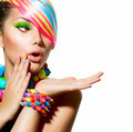 Beauty Girl Portrait with Colorful Makeup, Hair and Accessories - PhotoDune Item for Sale