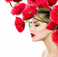 Beauty Fashion Model Woman with Red Poppy Flowers in her Hair - PhotoDune Item for Sale