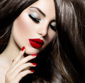 Sexy Beauty Girl with Red Lips and Nails. Provocative Make up - PhotoDune Item for Sale