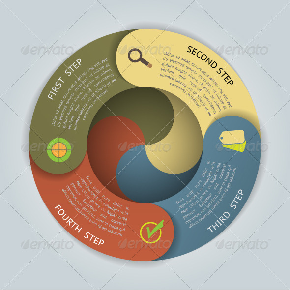 Circular Banners with 4 Steps - Infographics
