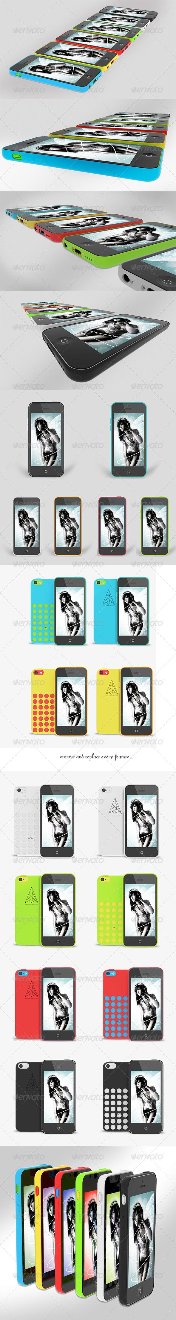 uPhone 5c Mock up  v2 - Mobile Displays