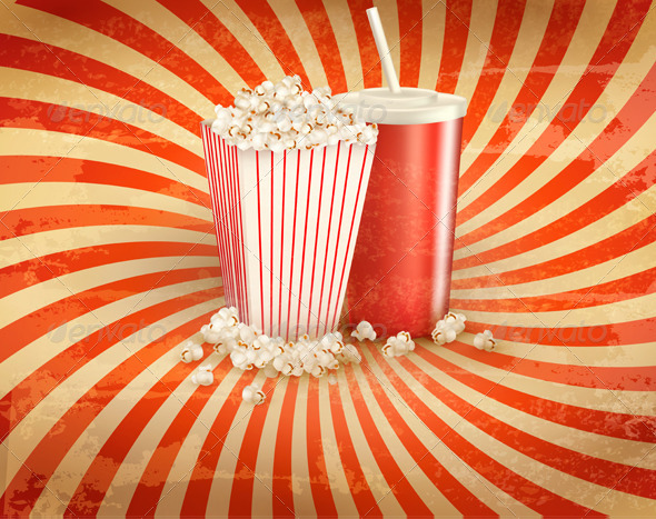 Retro Background with Popcorn and Drink - Food Objects