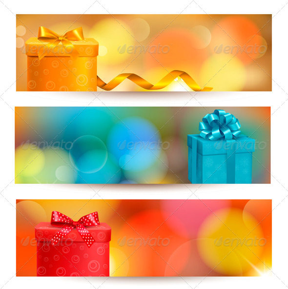 Set of Holiday Christmas Banners with Gift Boxes - Christmas Seasons/Holidays