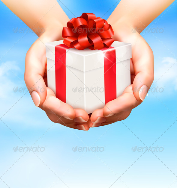 Holiday Background with Hands Holding Gift Boxes  - Birthdays Seasons/Holidays