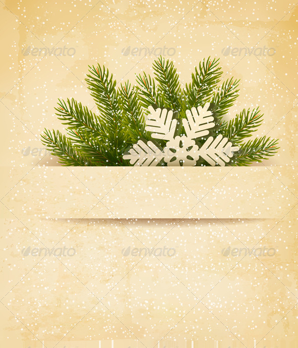 Christmas Retro Background with Tree Branches - Christmas Seasons/Holidays