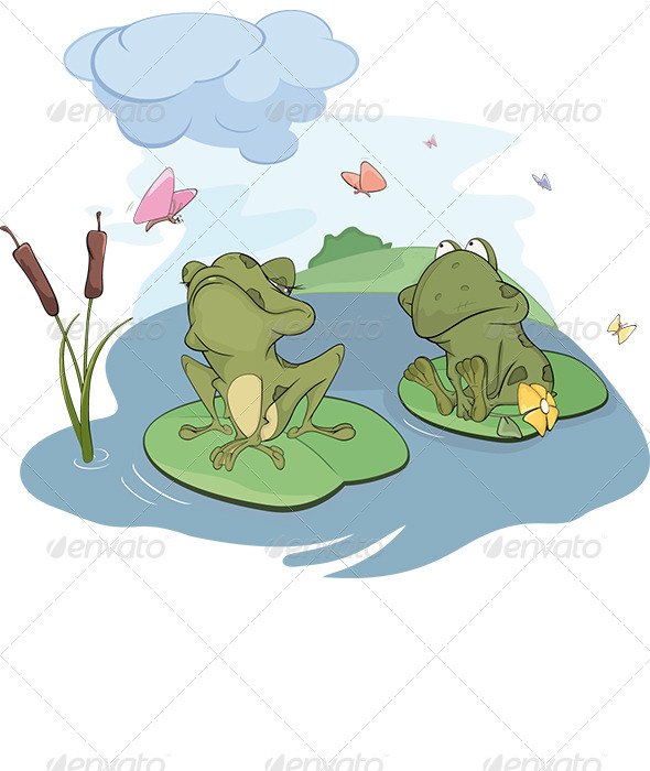 The Enamored Young Frog Cartoon  - Valentines Seasons/Holidays