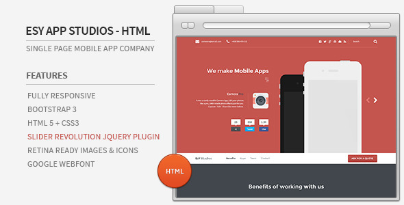 Esy App Studios - HTML Website - Technology Site Templates
