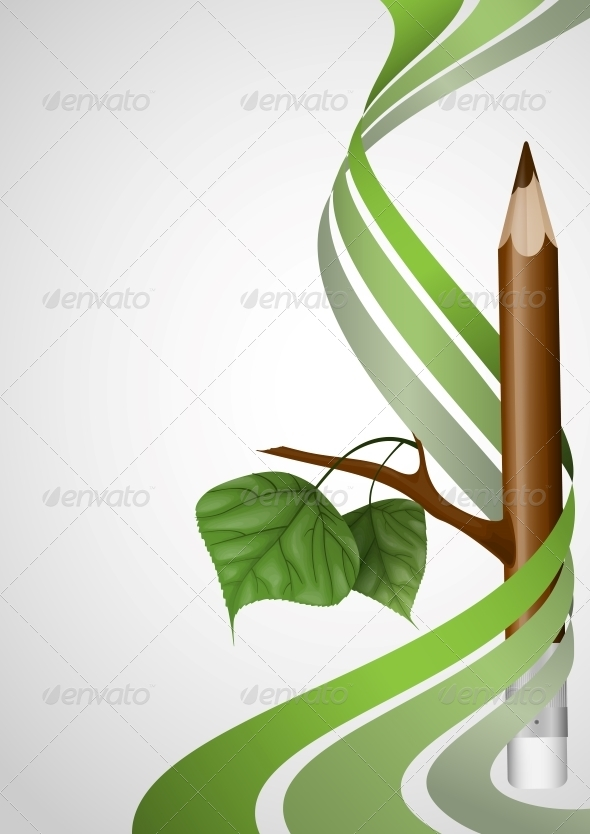 Wooden Pencil with Leaf. - Seasons Nature