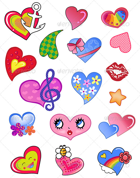 Comic Hearts Set - Miscellaneous Characters