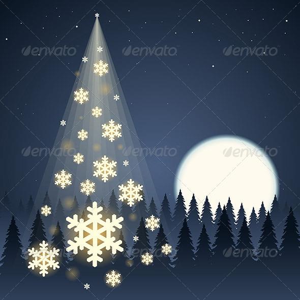 Moon Snowflake Christmas Tree - Christmas Seasons/Holidays