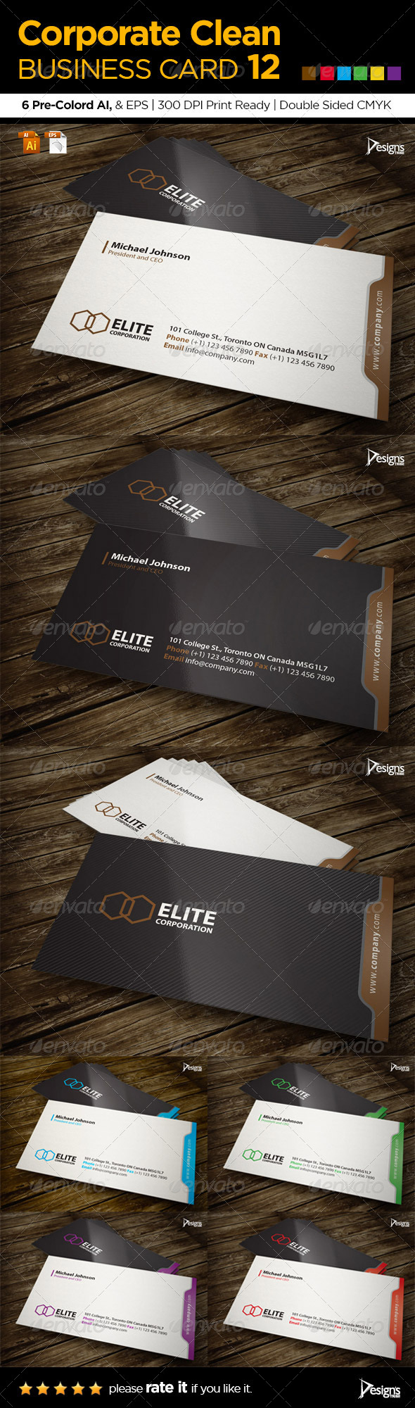 Corporate Clean Business Card 12 - Corporate Business Cards