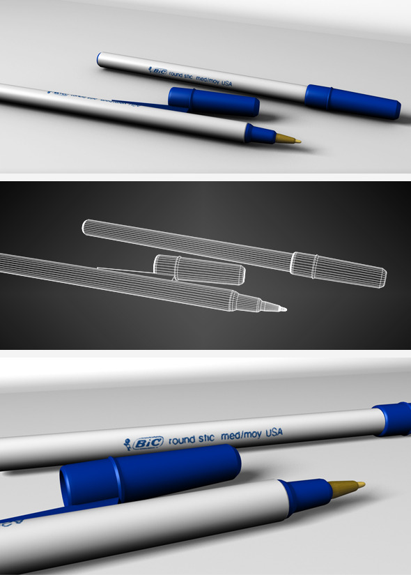 Blue BIC pen - 3DOcean Item for Sale