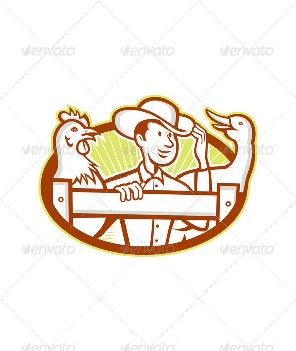 Farmer With Chicken Goose Cartoon - People Characters