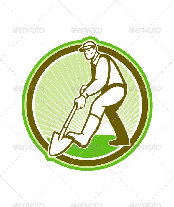 Gardener Landscaper Digging Shovel Circle - People Characters
