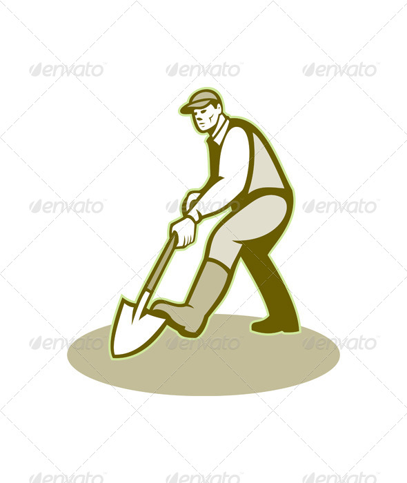 Gardener Landscaper Digging Shovel Retro - People Characters
