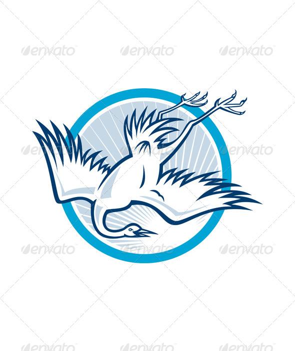 Heron Crane Diving Down Cartoon - Animals Characters