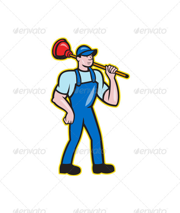 Plumber Holding Plunger Standing Cartoon - People Characters
