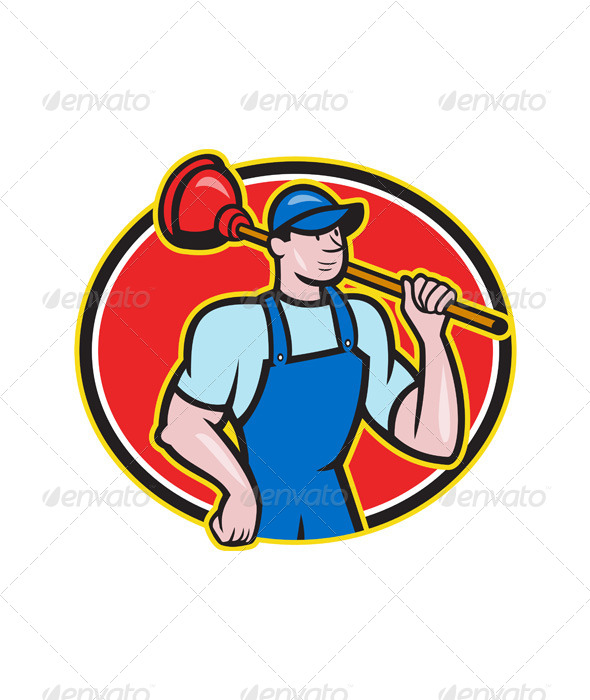 Plumber Holding Plunger Cartoon - People Characters