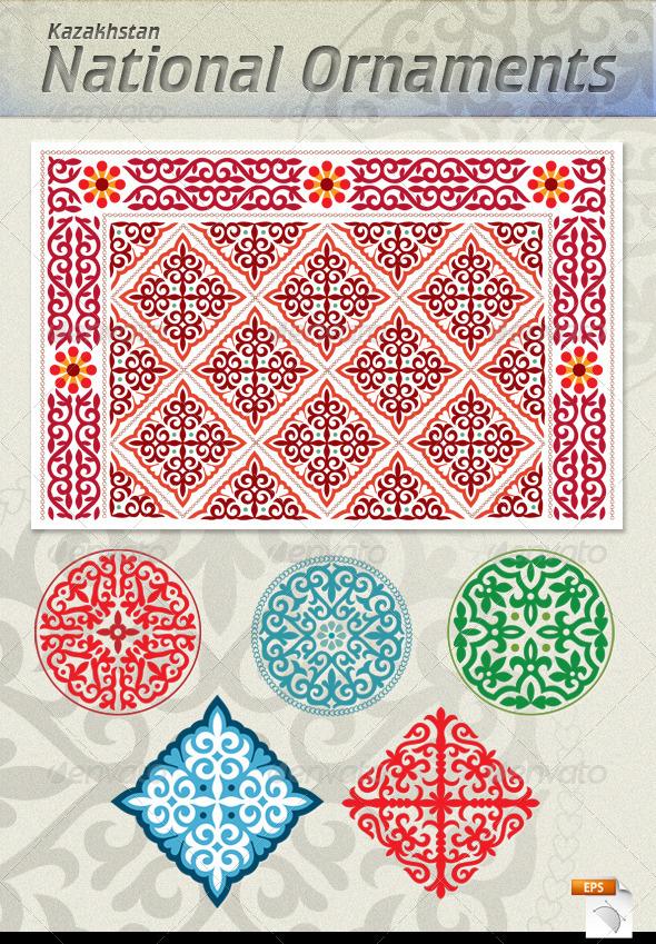 Kazakh National Ornaments - Backgrounds Decorative