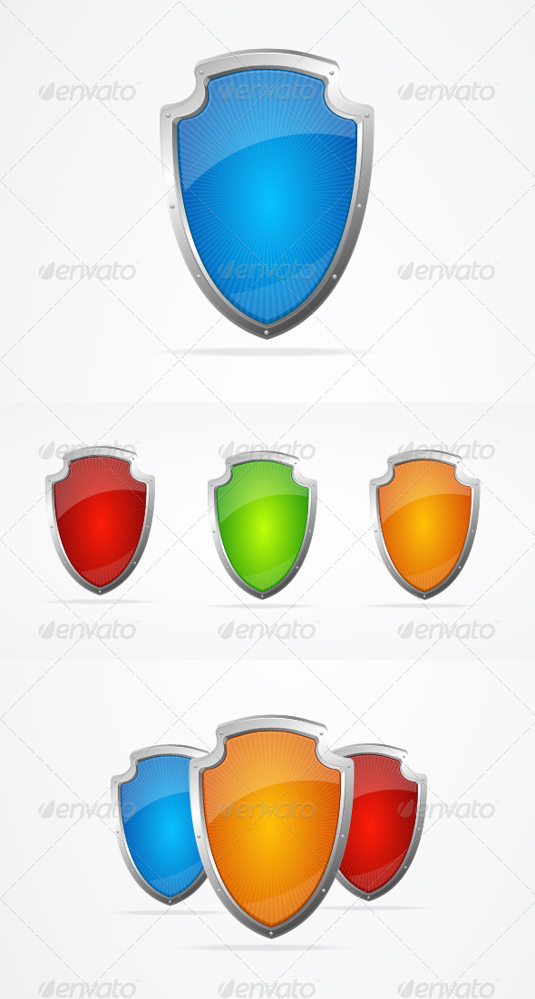Vector Empty Metal Shields Icon Set - Retro Technology