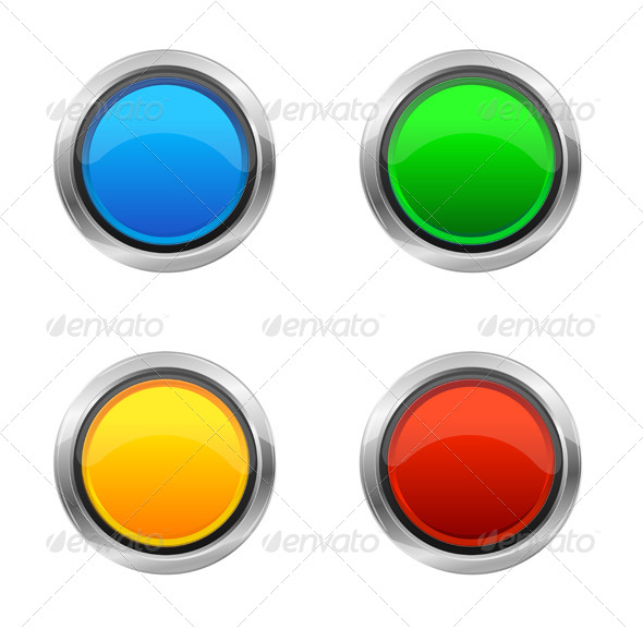 Vector Design Elements Round Buttons - Objects Vectors