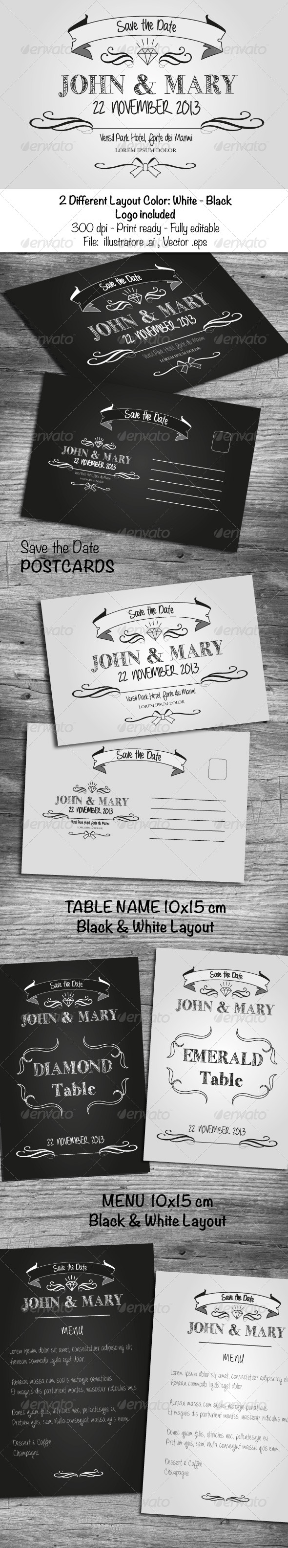 Black & White Wedding Cards - Cards & Invites Print Templates