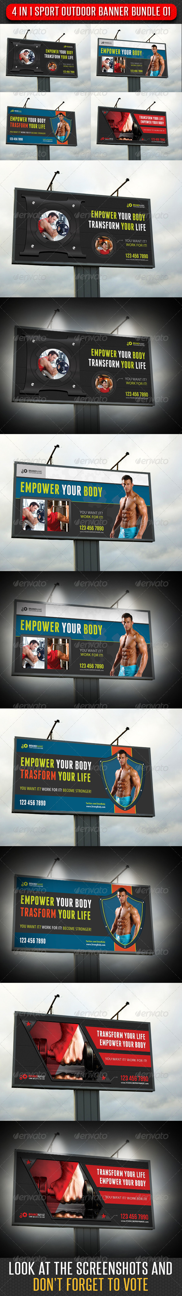 4 in 1 Sport Outdoor Banner Bundle 01 - Signage Print Templates