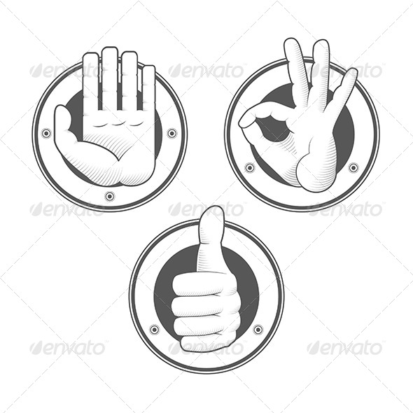 Hand Signs Stamps - Conceptual Vectors