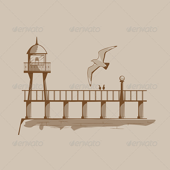Old Lighthouse on a Pier - Buildings Objects