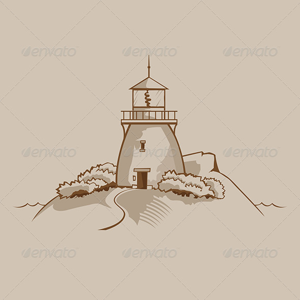 Lighthouse on a Rock - Buildings Objects