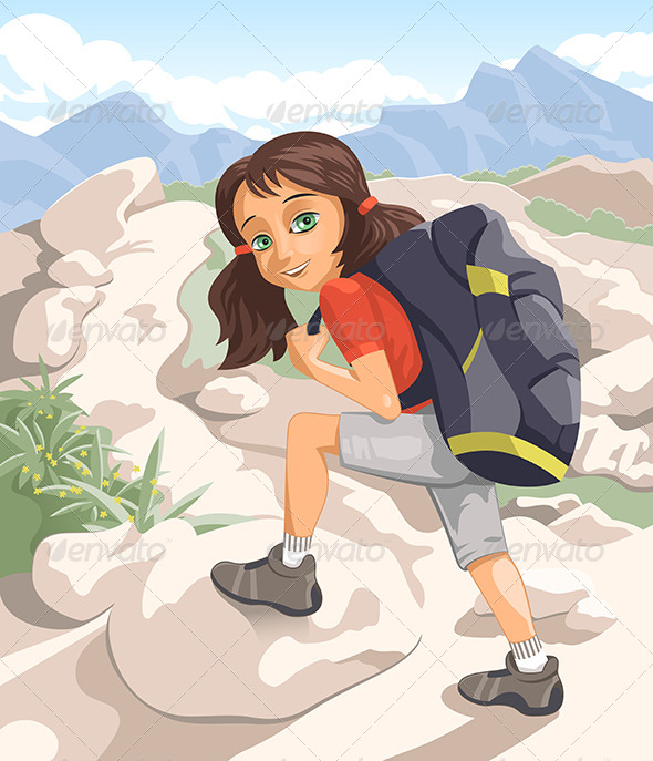 Girl with a Backpack - Travel Conceptual