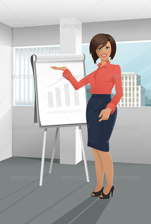 Businesswoman Giving a Presentation - Business Conceptual